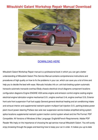 mitsubishi galant workshop repair manual down by dirkburton issuu rh issuu com Mitsubishi Galant Manual PDF Mitsubishi Galant Manual PDF