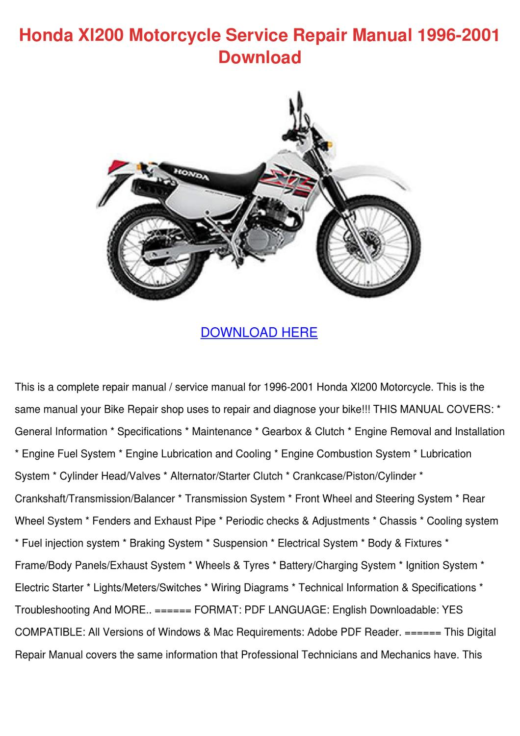 Honda Xl200 Motorcycle Service Repair Manual by PeggyPaulk