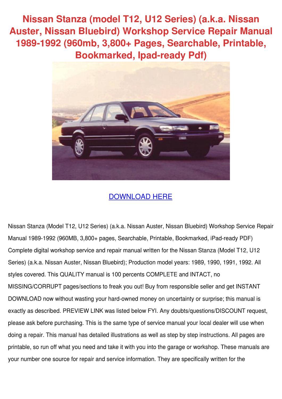 Nissan Stanza Model T12 U12 Series Aka Nissan by TerranceSpring ...