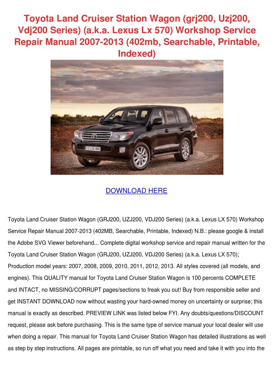 Toyota Land Cruiser Station Wagon Grj200 Uzj2 by AvaAmaral - issuu