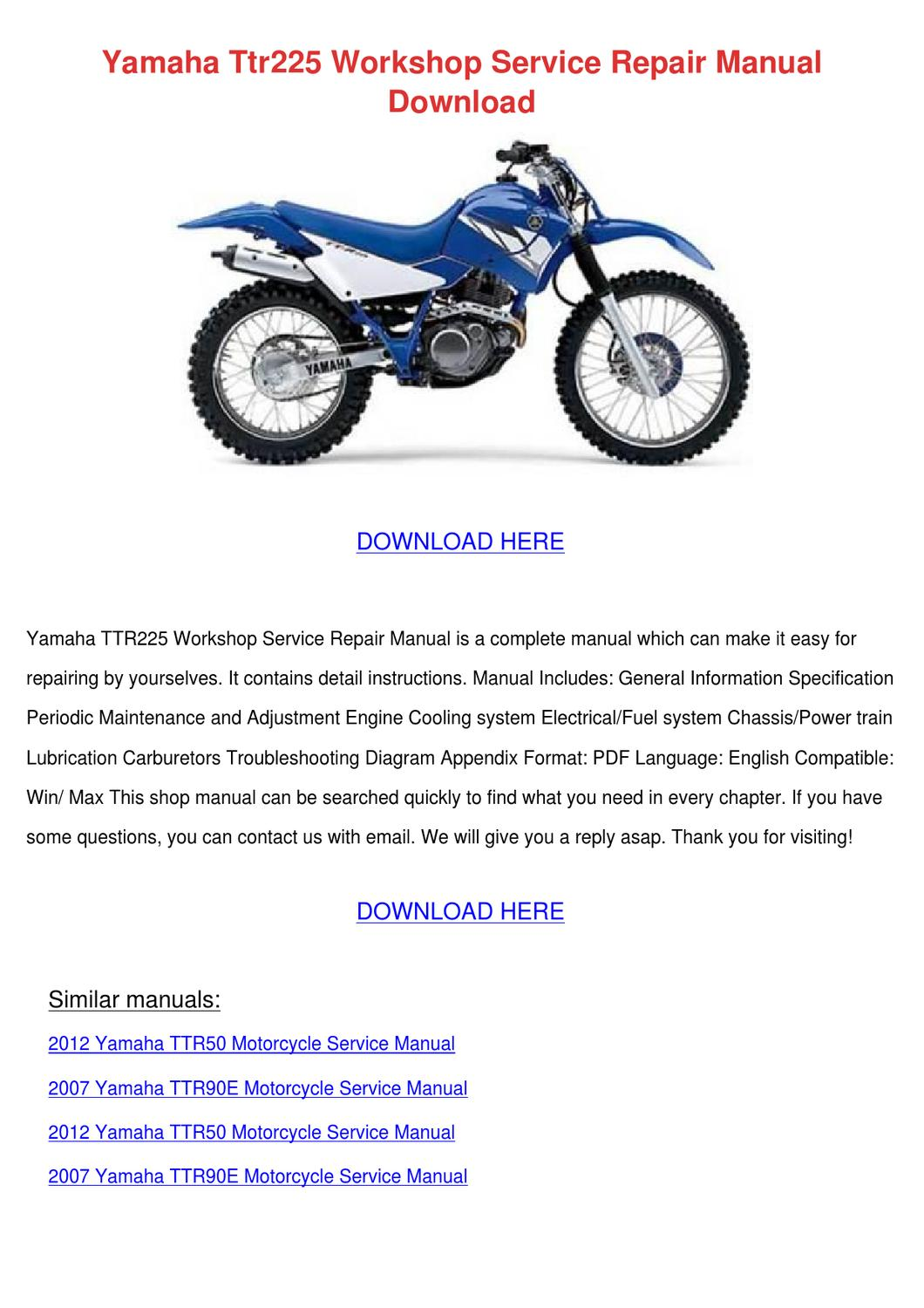 yamaha ttr225 workshop service repair manualavaamaral - issuu