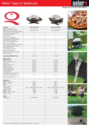 Weber Baby Q Q100 Barbecues Specifications By R Mcdonald