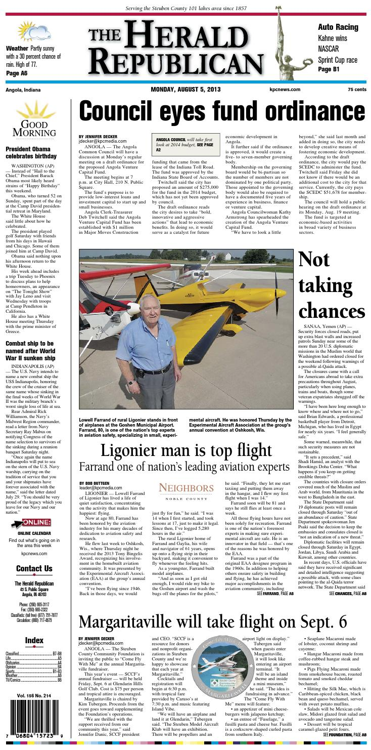 The Herald Republican – August 5, 2013 by KPC Media Group