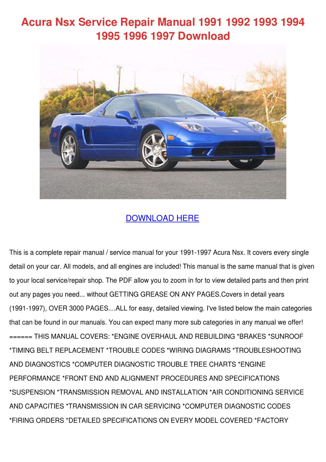 Timing Belt Setting Diagrams Acura Nsx Service Repair Manual 1991 1992 199 By Samuelsage Issuu