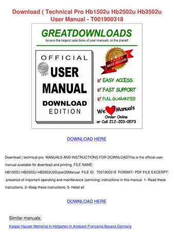 Download Technical Pro Hb1502u Hb2502u Hb3502 by TanyaSprouse - issuu