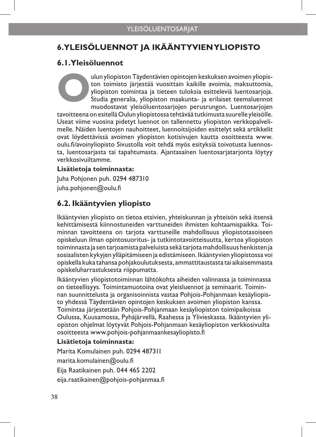 Oulun Yliopisto Opinto-Opas
