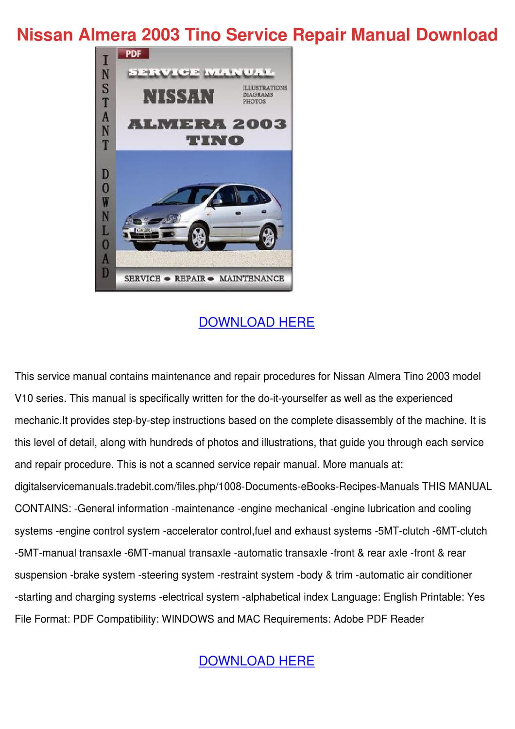 nissan almera 2003 tino service repair manual by. Black Bedroom Furniture Sets. Home Design Ideas