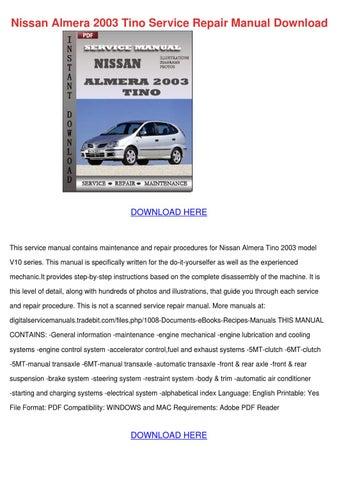 Nissan Almera 2003 Tino Service Repair Manual By Ellendenman Issuu