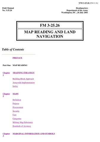 Us Army Field Manual Fm 3 2526 Map Reading And Land Navigation By - Us-army-map-reading
