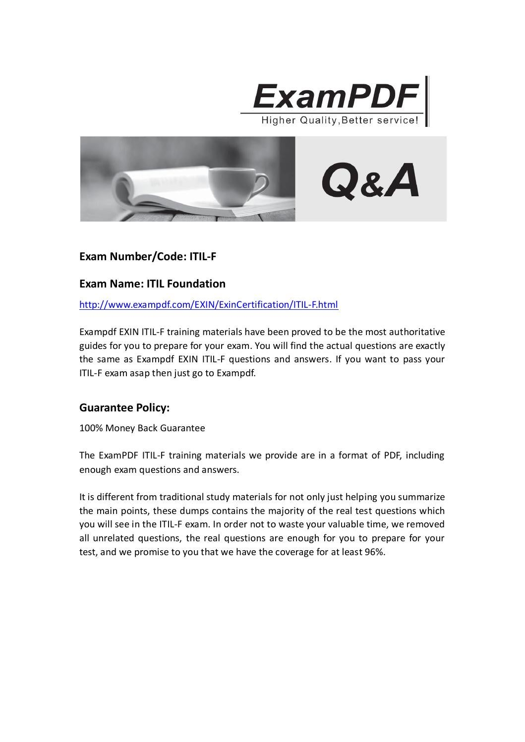 Exampdf Exin Itil F Exam Questions By Acex Ly Issuu