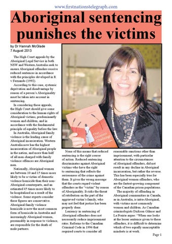 Aboriginal Sentencing Punishes The Victims By Stephen Hagan Issuu