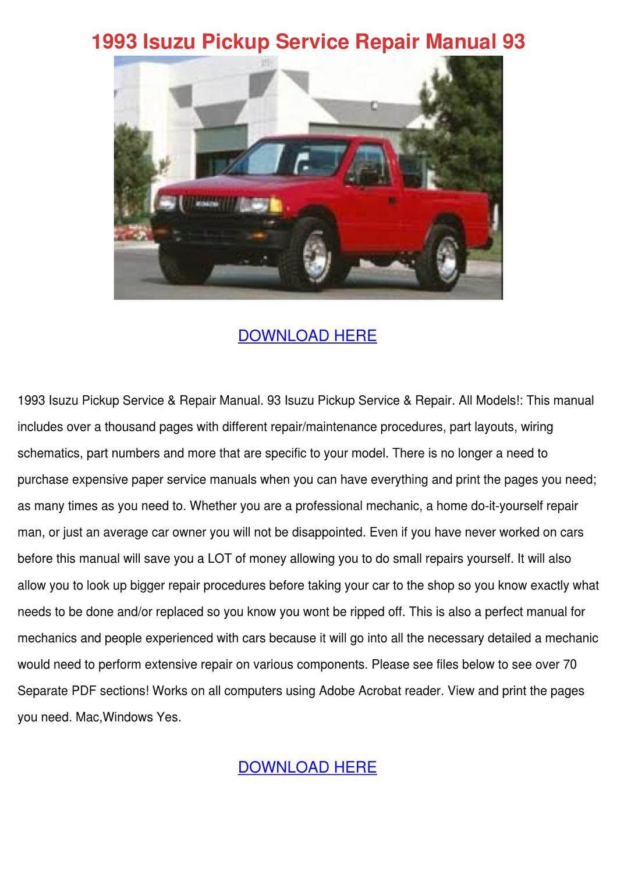 1993 Isuzu Pickup Service Repair Manual 93 by KaylaJanssen - issuu
