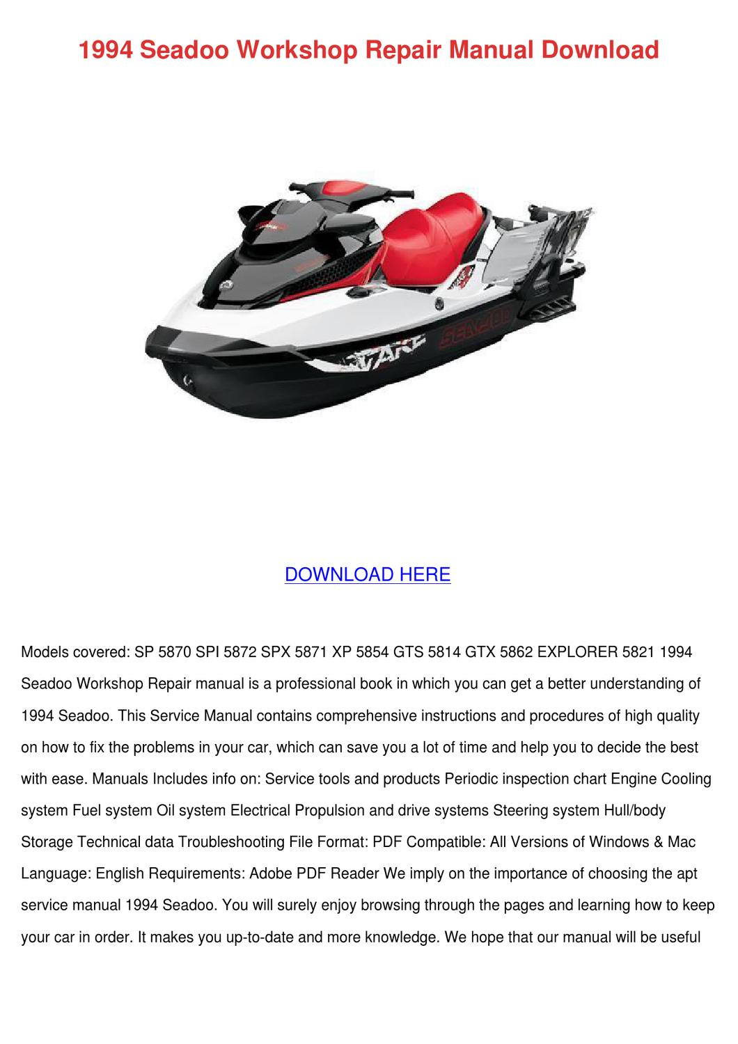 1994 Seadoo Workshop Repair Manual Download By Heidigarris