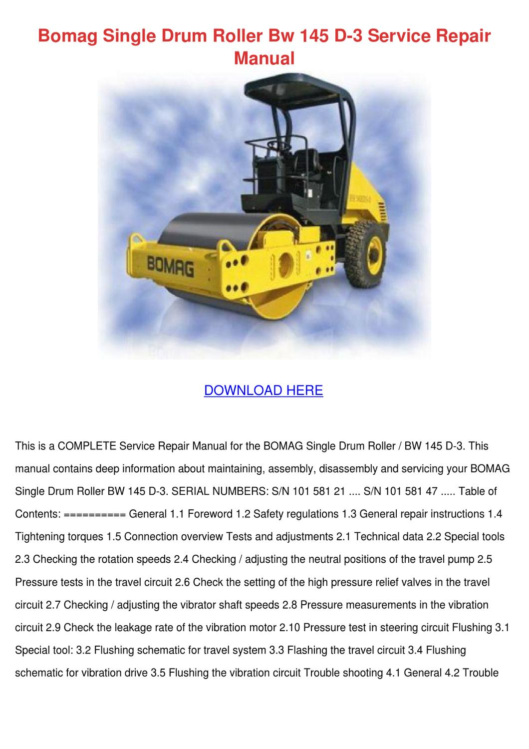 Bomag Single Drum Roller Bw 145 D 3 Service R by HeidiGarris - issuu