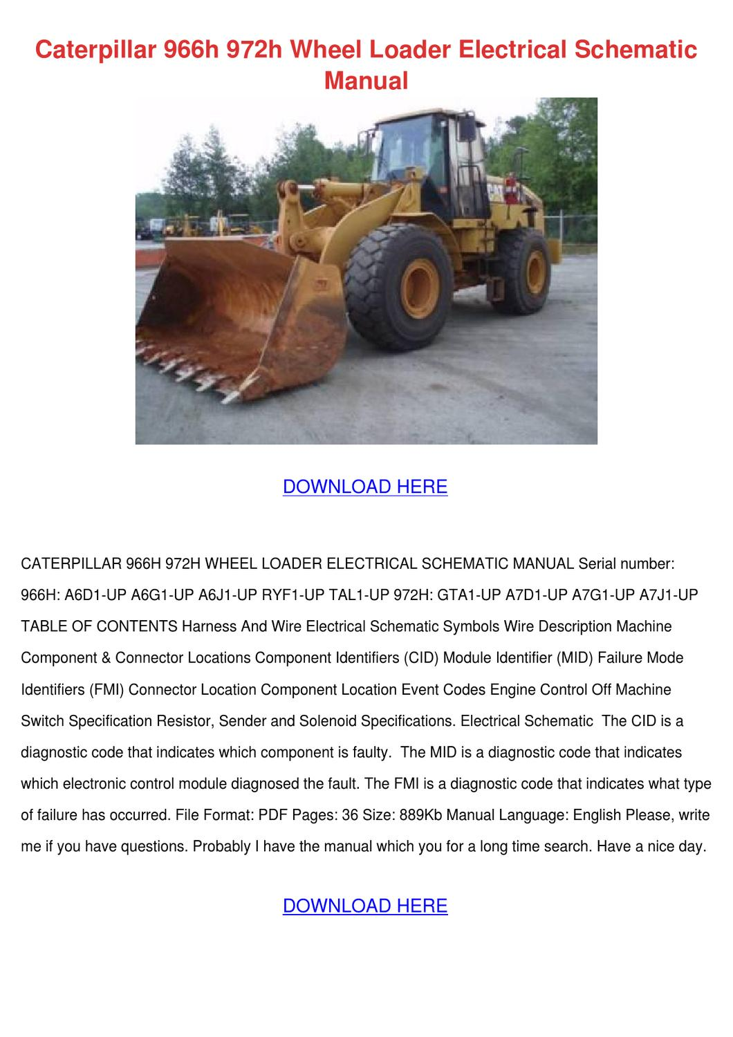 Caterpillar 966h 972h Wheel Loader Electrical By
