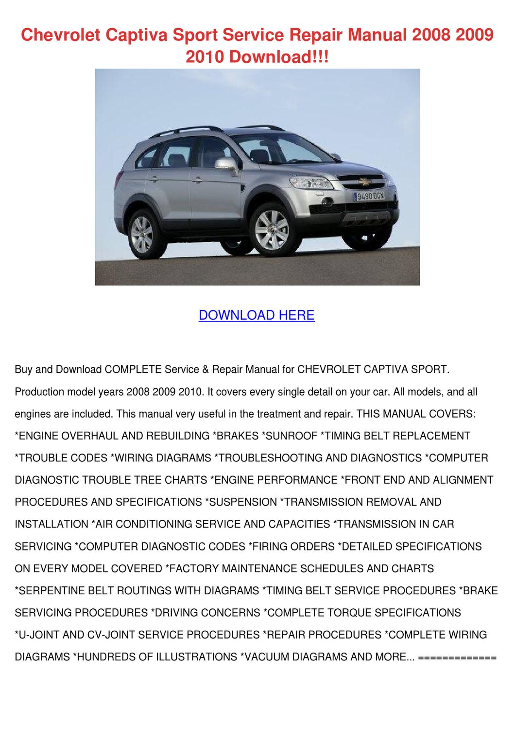 Chevrolet Captiva Sport Service Repair Manual By Heidigarris Issuu Wiring Diagrams Manuals