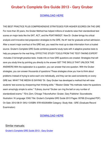Grubers Complete Gre Guide 2012 Pdf