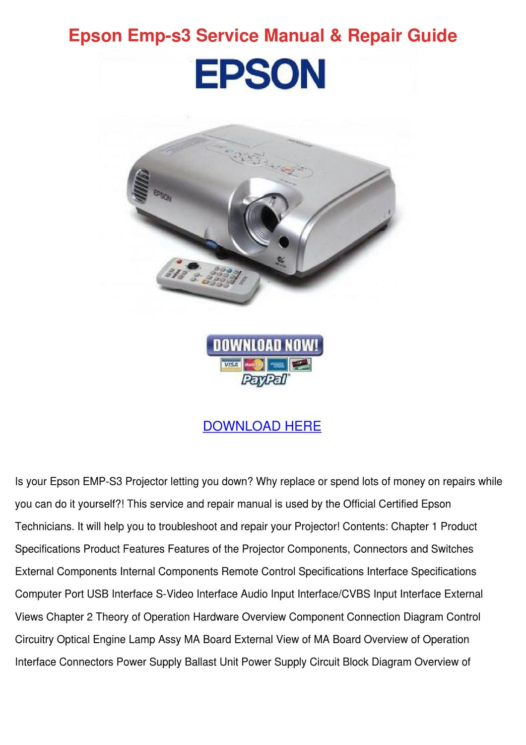 epson emp s3 service manual repair guide by lenorelanham issuu rh issuu com Epson 3LCD Projector Troubleshooting Epson EX30 Projector Manuals
