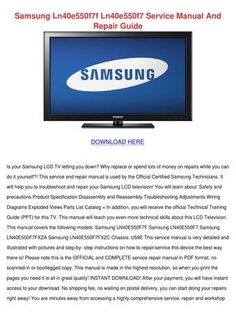 samsung ln40e550f7f ln40e550f7 service manual and repair guide