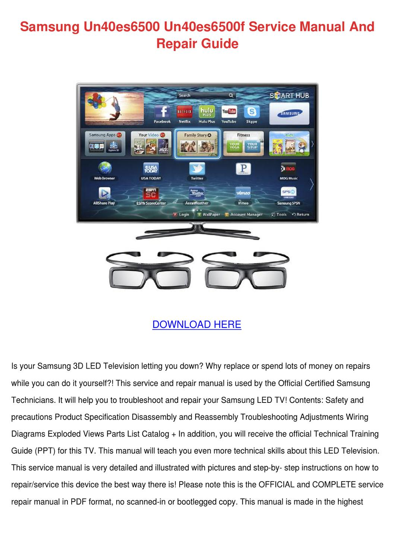 Samsung Un40es6500 Un40es6500f Service Manual By Adawhelan