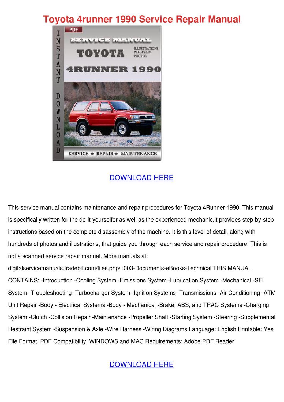 Toyota 4runner 1990 Service Repair Manual By Jamisonhair