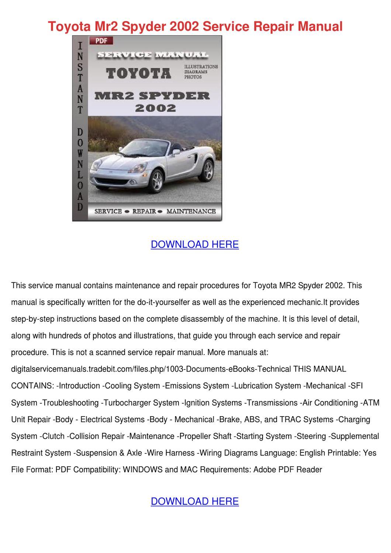 Toyota Mr2 Spyder 2002 Service Repair Manual By Jamisonhair