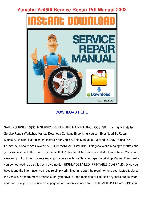 2003 Yz450f Repair Manual