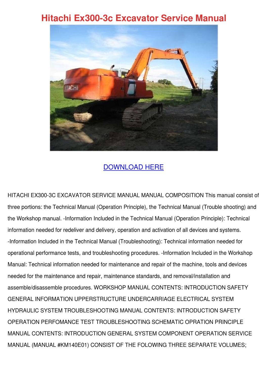 Hitachi Ex300 3c Excavator Service Manual By Claireburbank Issuu Schematic