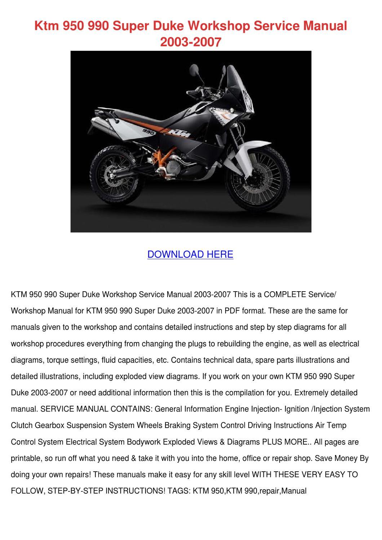 Ktm 950 990 Super Duke Workshop Service Manua By Claireburbank Issuu Engine Diagrams