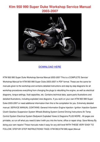 ktm 950 990 super duke workshop service manua by claireburbank issuuktm 950 990 super duke workshop service manua