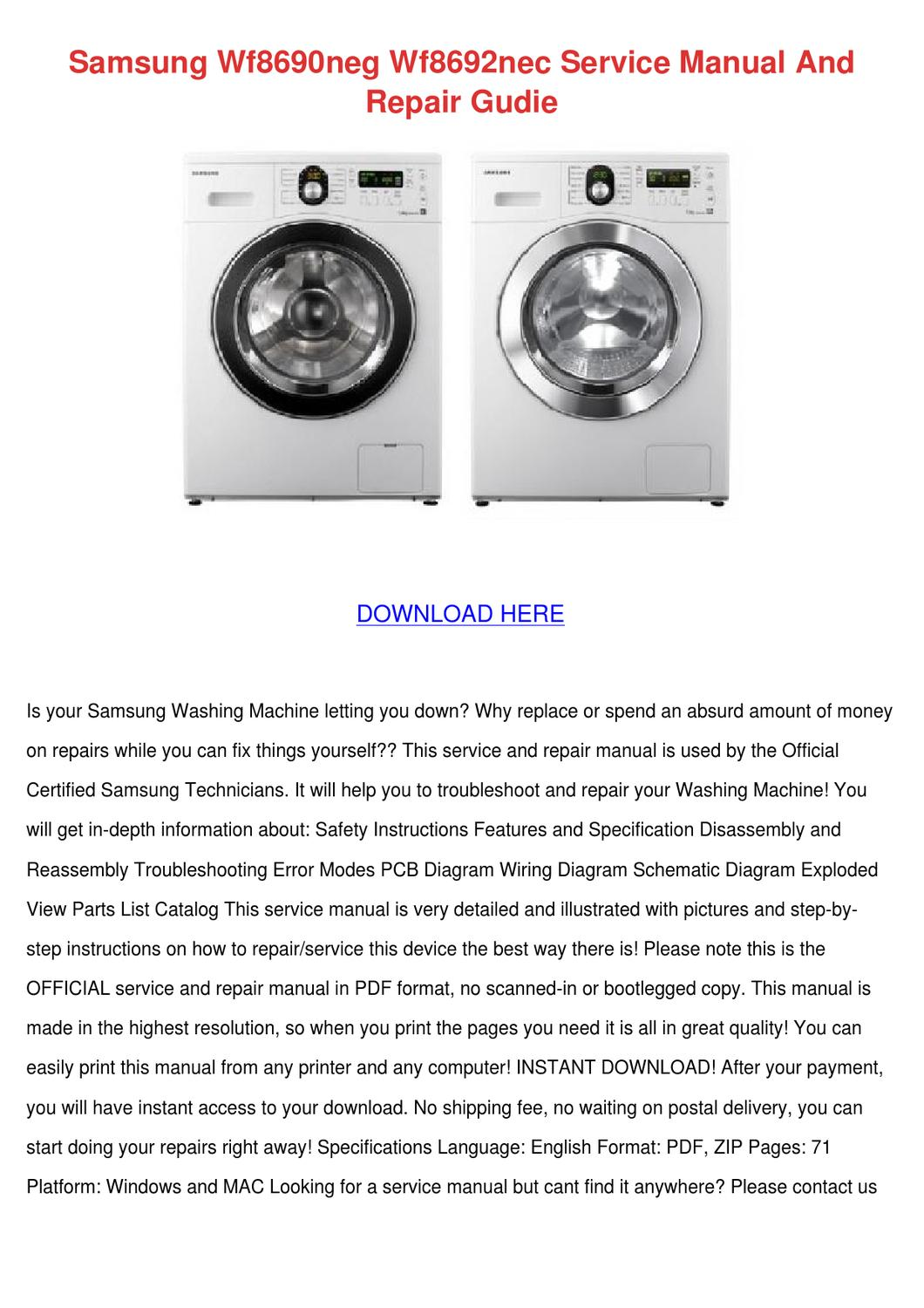 Samsung Wf8690neg Wf8692nec Service Manual An By Aprilalbers Issuu Wiring Diagram Of Washing Machine Pdf