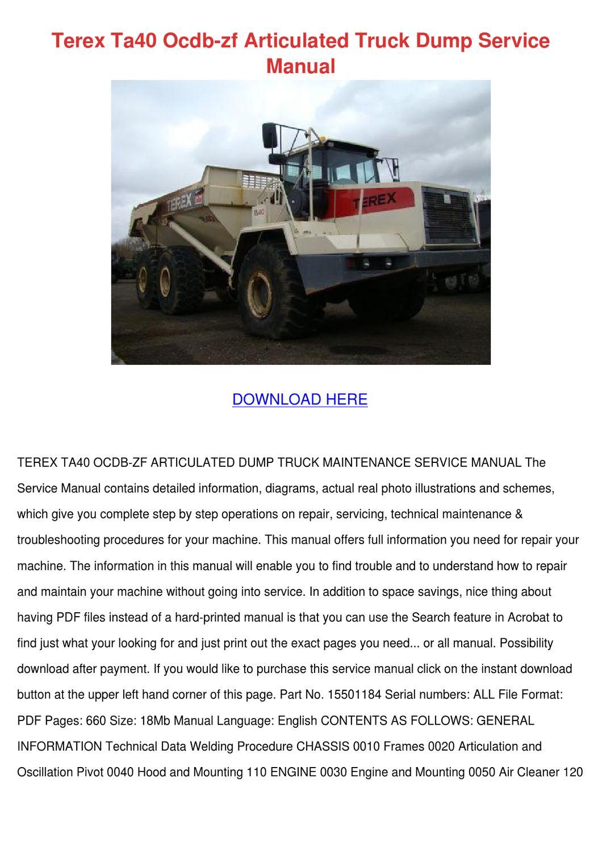 Terex Ta40 Ocdb Zf Articulated Truck Dump Ser by SimoneSheridan ...