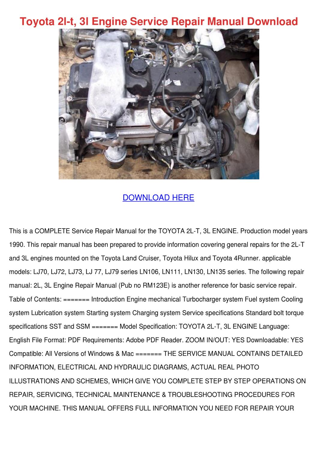 Toyota 2l T 3l Engine Service Repair Manual D By