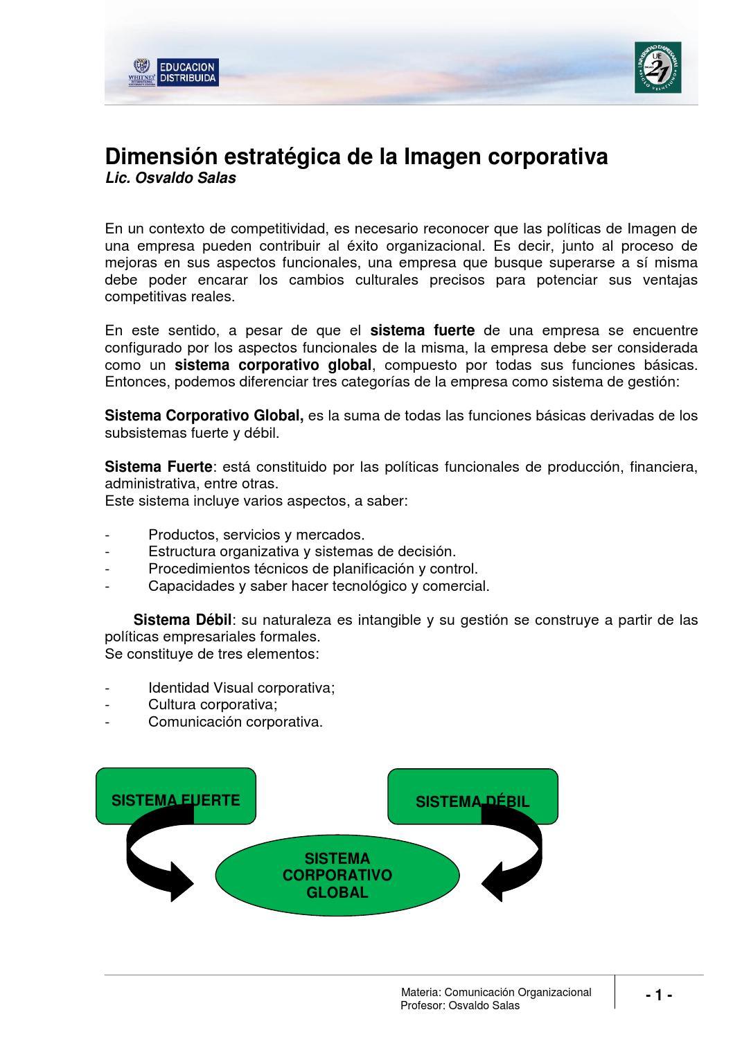 Lectura 7 Dimensión Estratégica De La Imagen Corporativa By