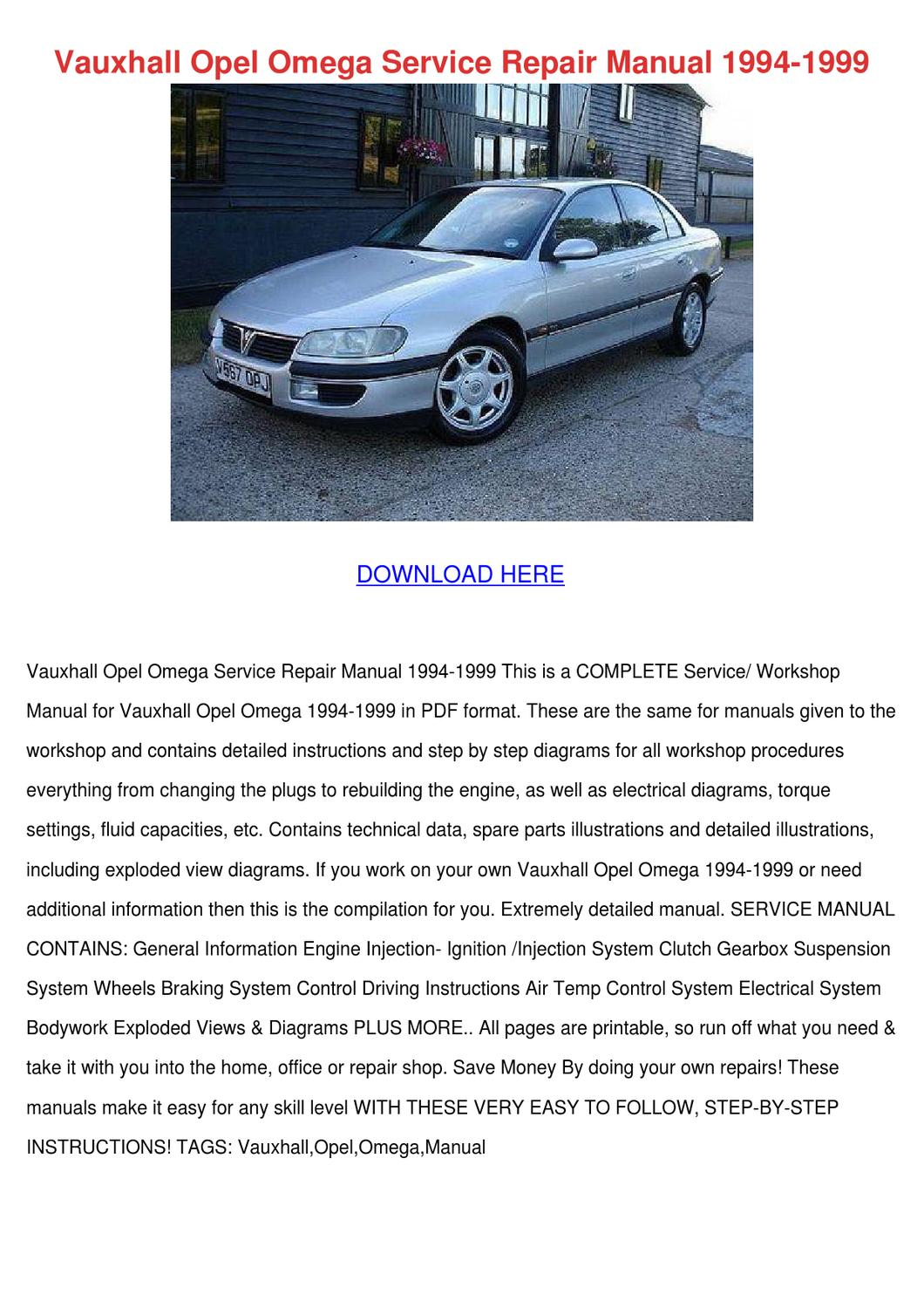 Vauxhall Opel Omega Service Repair Manual 199 By Simonesheridan Issuu Renault Workshop Wiring Diagram 2012 Pack