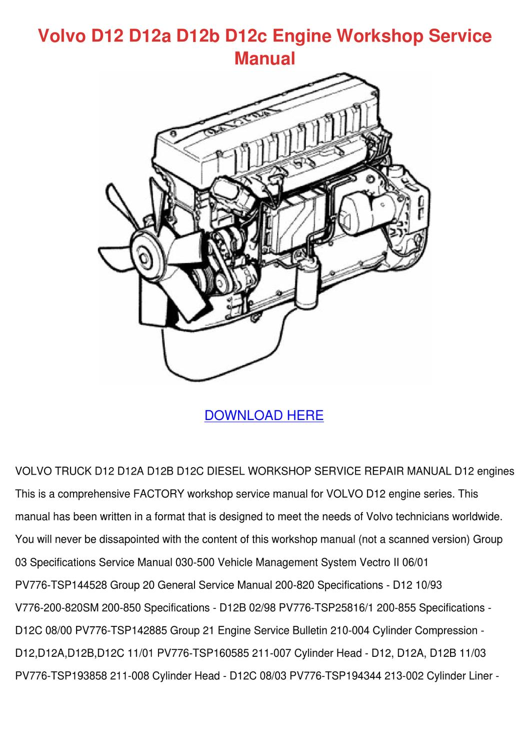 volvo d12 d12a d12b d12c engine workshop serv by simonesheridan - issuu  issuu