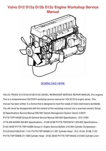 volvo d12 d12a d12b d12c engine workshop serv by simonesheridan issuu rh issuu com 2003 Volvo S40 Engine Diagram volvo d12 engine belt diagram