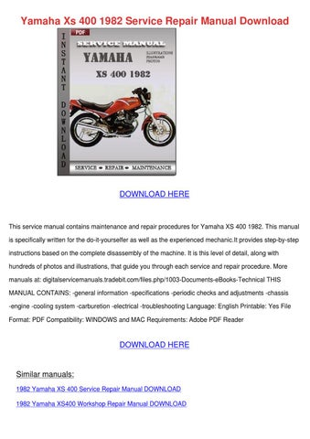 Yamaha xs 400 1982 service repair manual down by simonesheridan page 1 yamaha xs 400 1982 service repair manual download fandeluxe Gallery