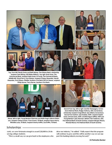 Top, from left: Randy Carter and Beth Bishop, The Citizens Bank; scholarship recipient Tyler Bishop; CEO Blake Gibbons. Top right: Brad Jones, ...