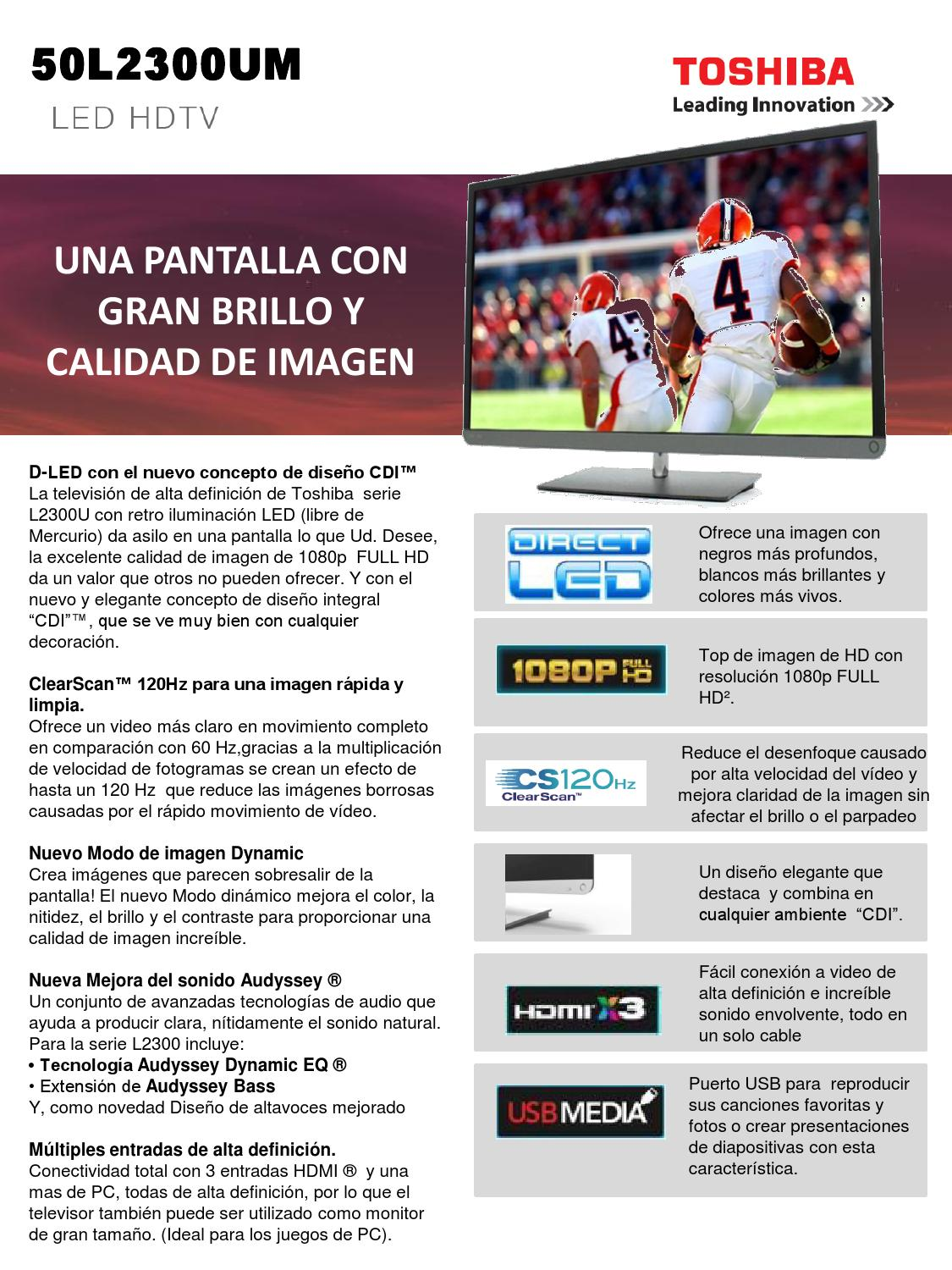 Pantalla led 50 toshiba fhd 120 hz usb hdmi by SAREZ TECK - issuu