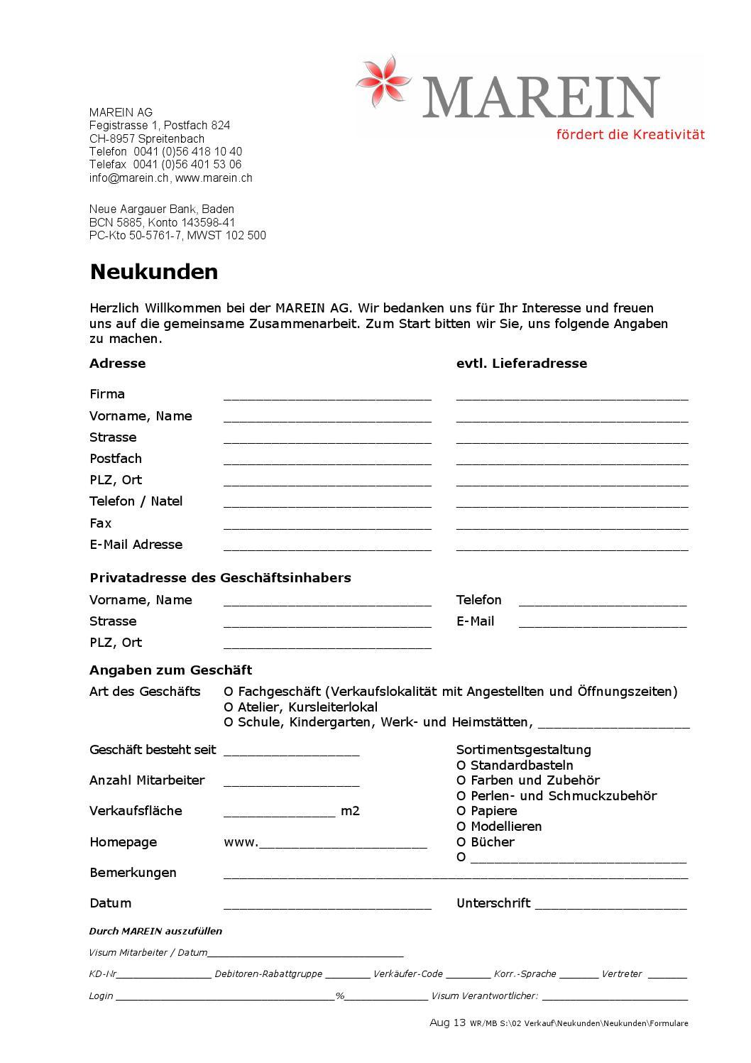 Neukunden aufnahme formular neu by I AM CREATIVE - issuu