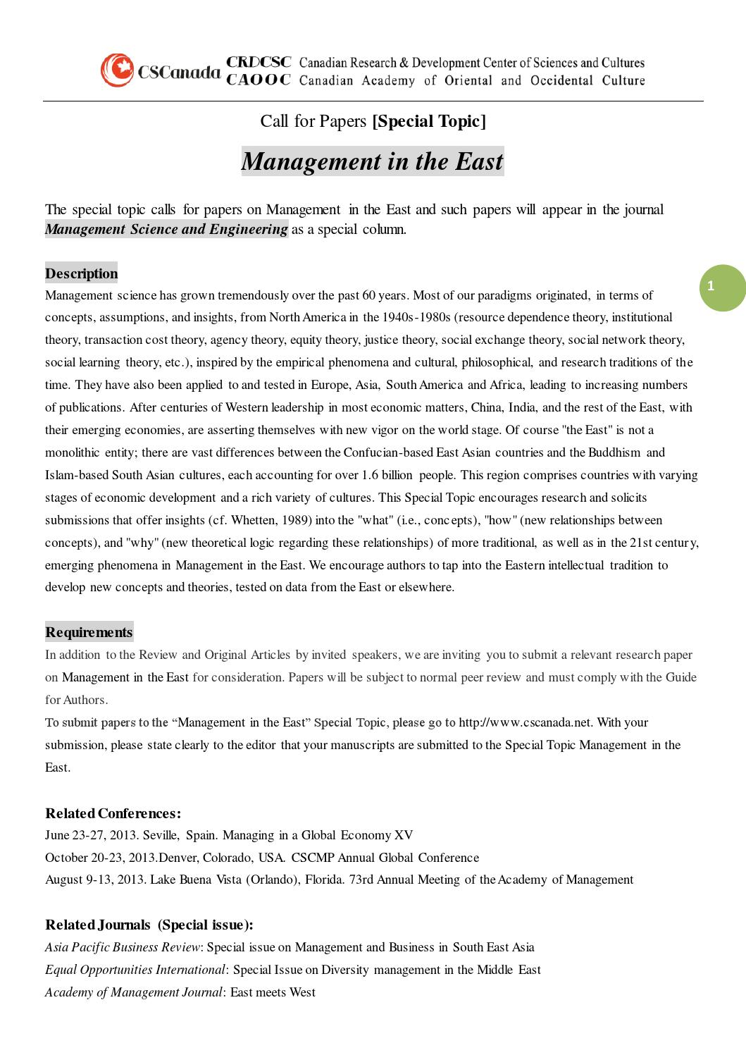 Mse special topic management in the east by CSCanada - issuu