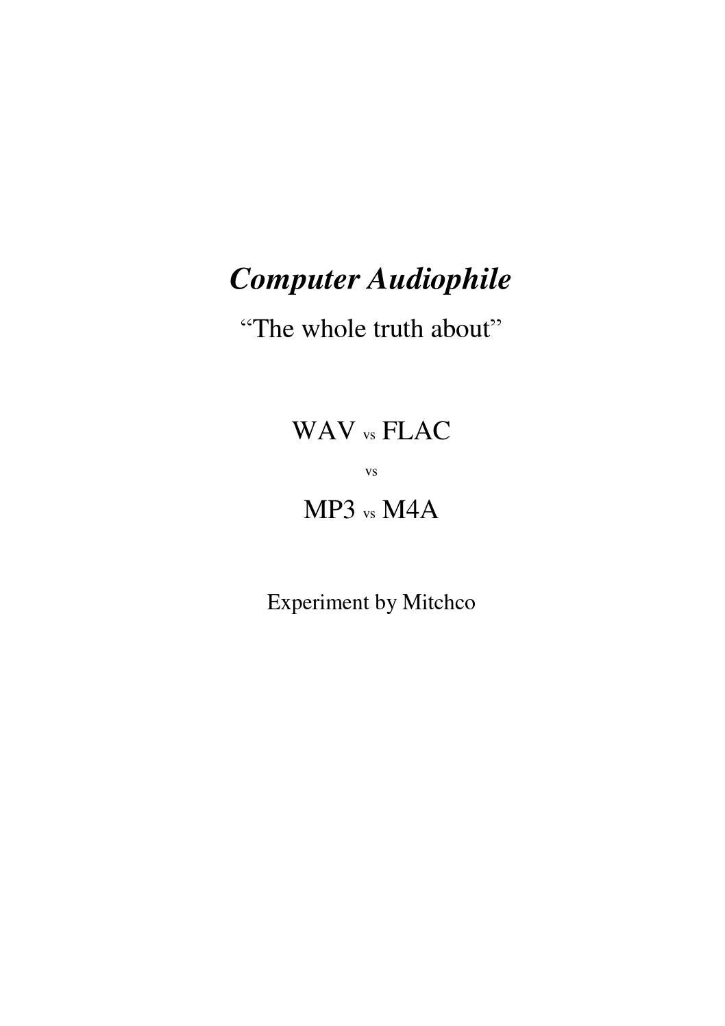 WAV vs FLAC vs MP3 vs M4A by Sara Constança - issuu