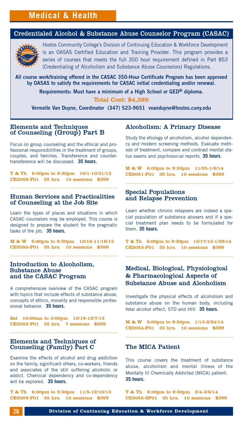 Fall 2013 Continuing Education Catalog By Hostos Community College