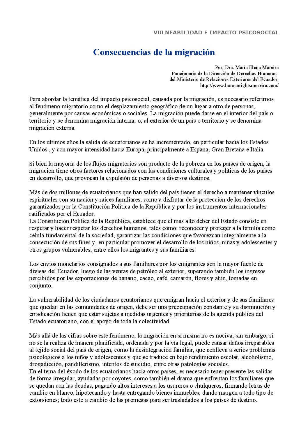 Consecuencias de la migracion by diana issuu for Ministerio de migracion