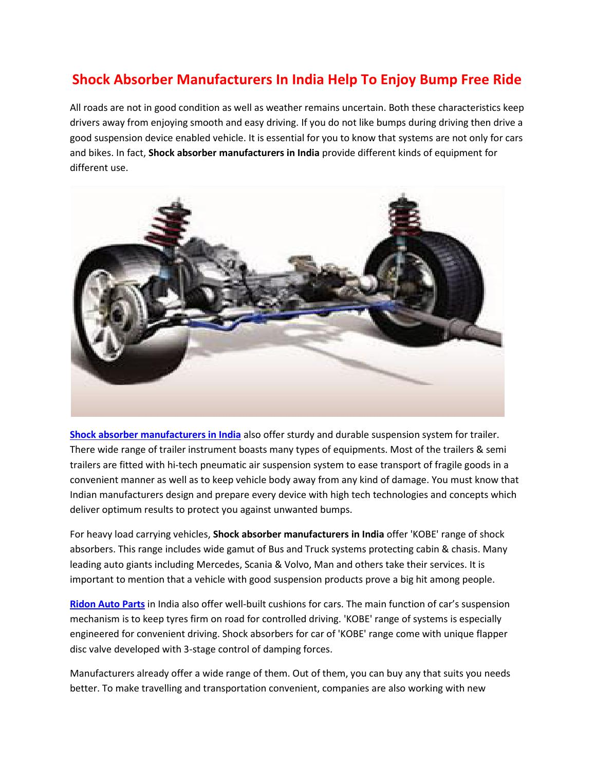 Shock Absorber Manufacturers In India Help To Enjoy Bump Free Ride ...