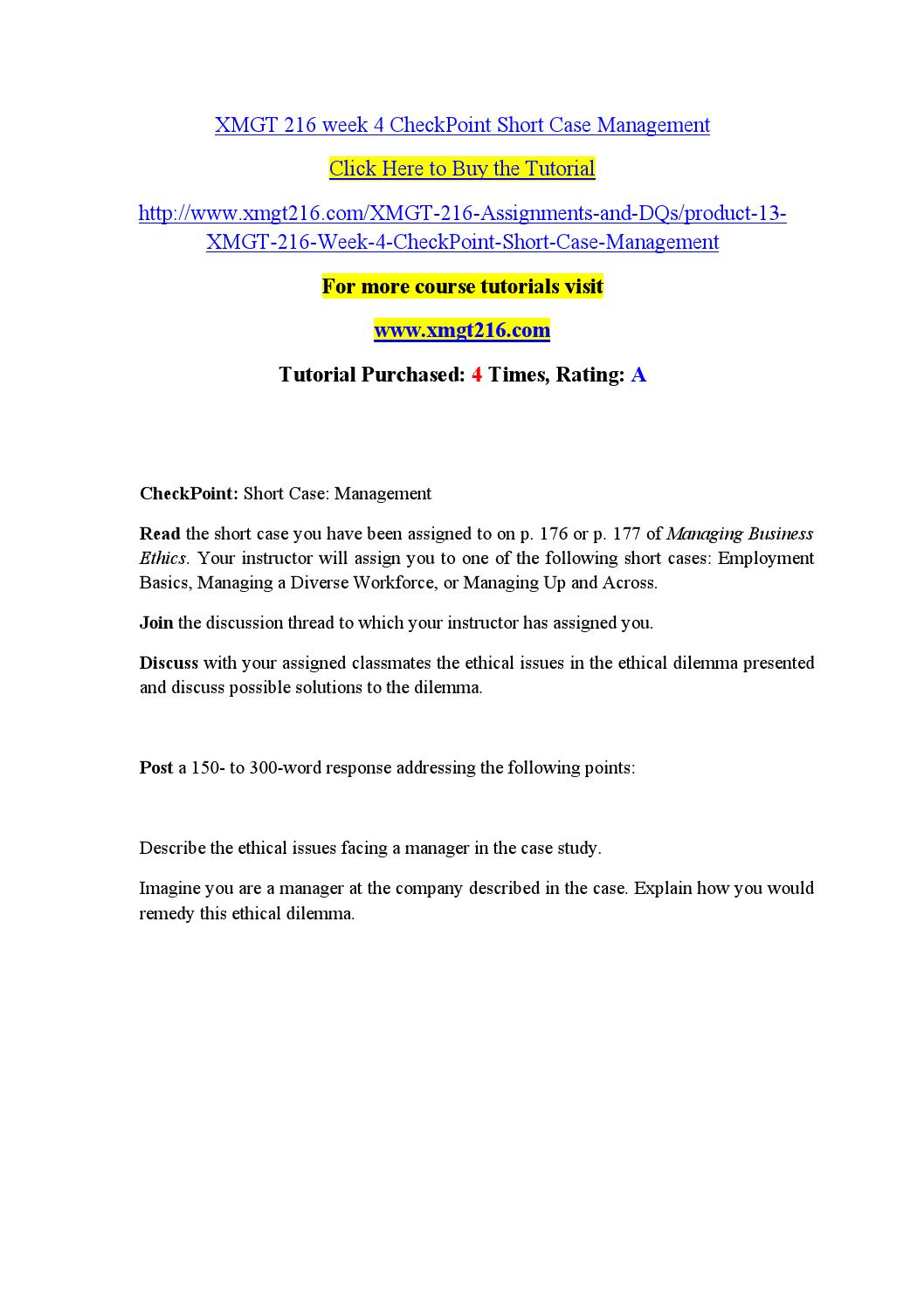 management case study xmgt 216