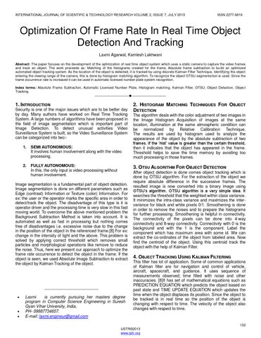 Optimization of frame rate in real time object detection and