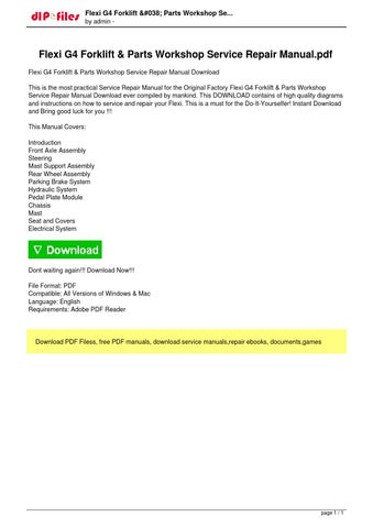 flexi g4 forklift parts workshop service repair manual download