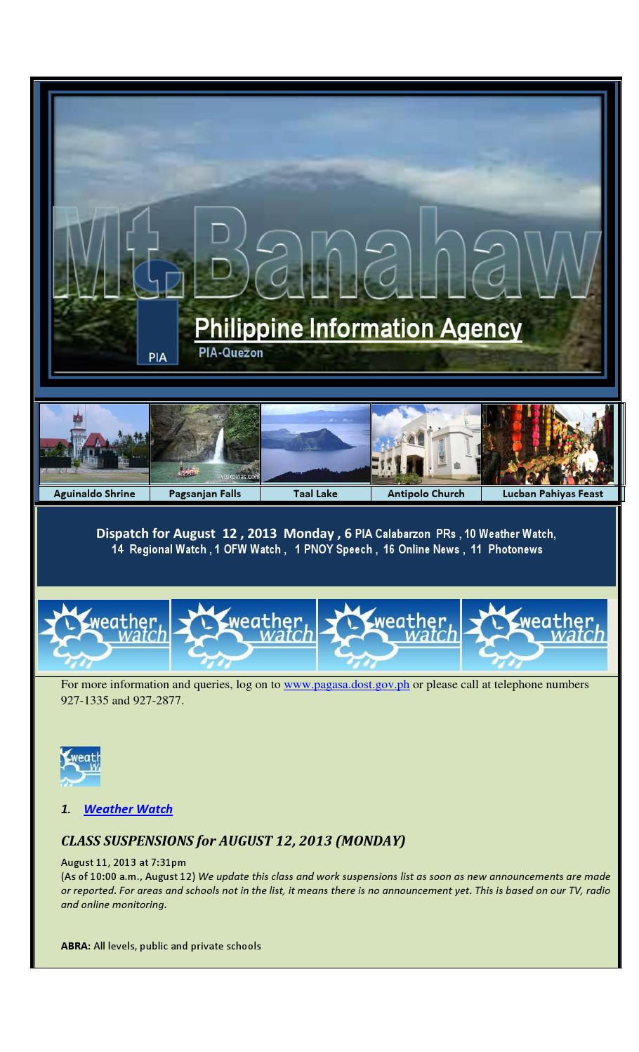Dispatch for august 12 , 2013 monday , 6 pia calabarzon prs